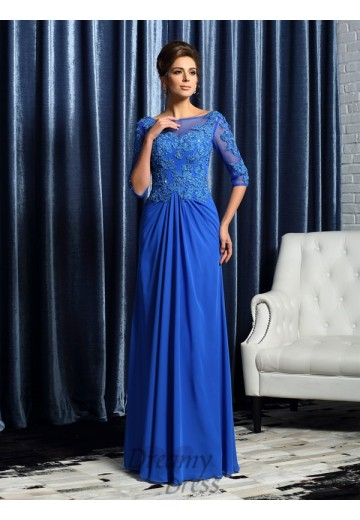 1/2 Sleeves Bateau Floor-Length Chiffon Mother of the Bride Dress