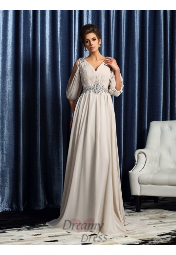 1/2 Sleeves Chiffon V-neck Court Train Mother of the Bride Dress