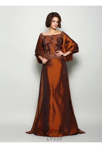 1/2 Sleeves Off-the-Shoulder Taffeta Long Mother of the Bride Dress