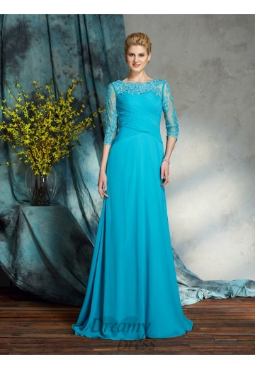 A-line Bateau Chiffon Long Mother of the Bride Dress