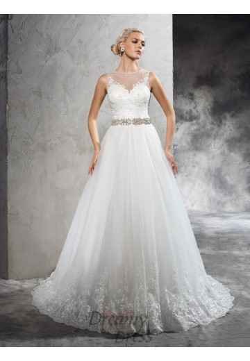 A-line Court Train Net Wedding Dress