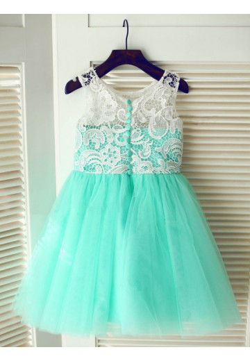 A-line Floor-length Tulle Flower Girl Dresses with Lace