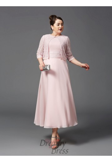 A-line Jewel Lace Ankle-Length Chiffon Plus Size Mother of the Bride Dress