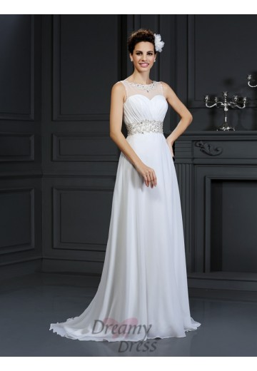 A-Line/Princess Bateau Chapel Train Chiffon Wedding Dress