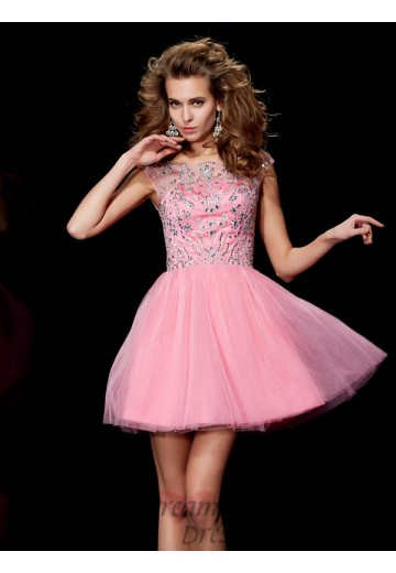 A-Line/Princess Bateau Short/Mini Satin Dress
