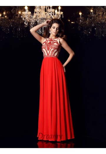 A-Line/Princess Chiffon Scoop Floor-Length Dress