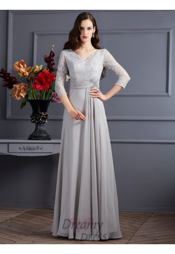 A-Line/Princess Chiffon V-neck 3/4 Sleeves Floor-Length Dress