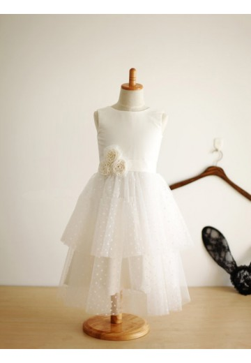 A-line/Princess Jewel Floor-length Tulle Flower Girl Dresses with Hand-made Flower