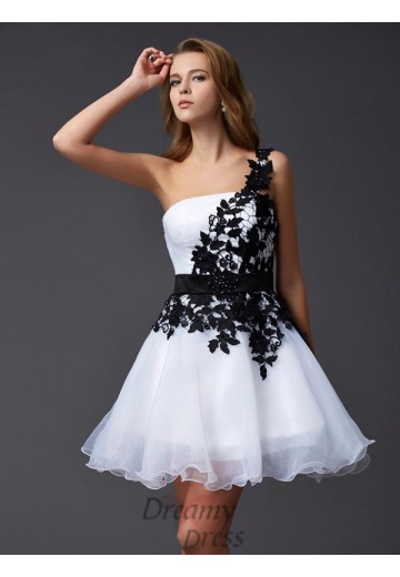 A-Line/Princess One-Shoulder Short/Mini Organza Dress