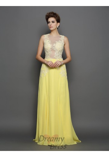 A-Line/Princess Scoop Chiffon Lace Sweep/Brush Train Dress