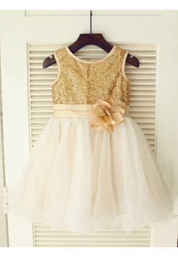 A-line/Princess Scoop Knee-Length Organza Flower Girl Dresses with Sequins