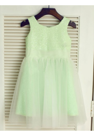 A-line/Princess Scoop Tea-length Tulle Flower Girl Dresses