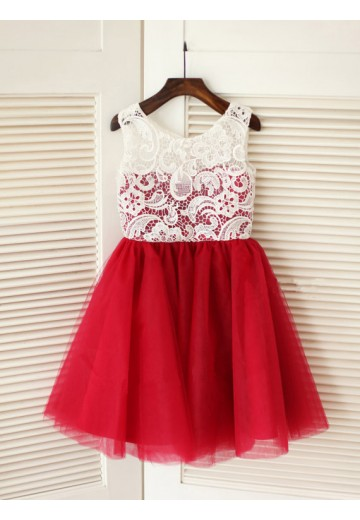 A-line/Princess Scoop Knee-Length Tulle Flower Girl Dresses with Lace