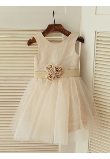 A-line/Princess Scoop Floor-length Tulle Flower Girl Dresses with Sash/Ribbon/Belt