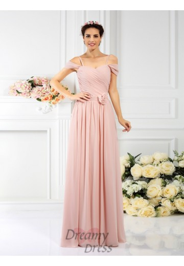 A-Line/Princess Spaghetti Straps Floor-Length Chiffon Bridesmaid Dress