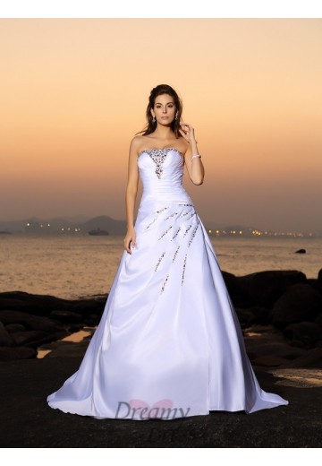 A-Line/Princess Strapless Satin Chapel Train Wedding Dress