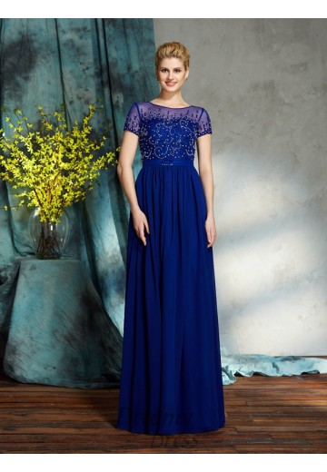 A-line Scoop Chiffon Long Mother of the Bride Dress