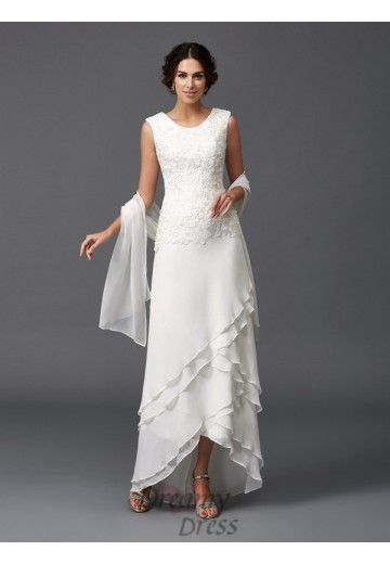 A-line Scoop Lace Asymmetrical Chiffon Mother of the Bride Dress