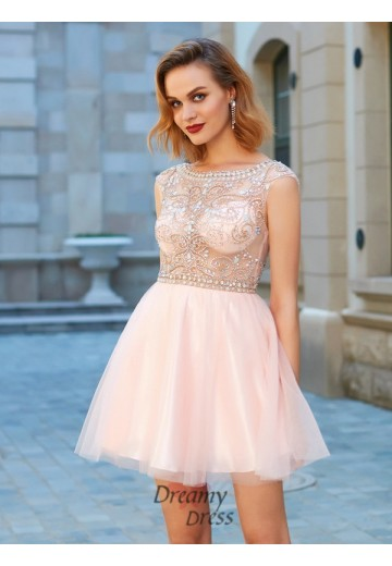 A-Line Scoop Net Short Sleeves Short Dress with Beading