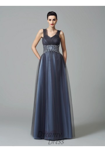 A-line Straps Long Net Mother of the Bride Dress