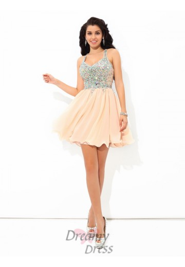 A-line Straps Short Chiffon Cocktail Dress