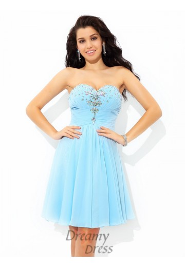 A-line Sweetheart Short Chiffon Cocktail Dress