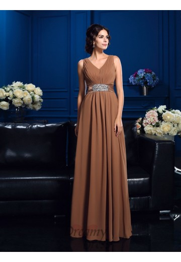 A-line V-neck Chiffon Long Mother of the Bride Dress