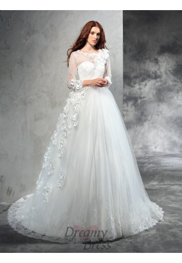 Ball Gown Long Sleeves Court Train Net Wedding Dress