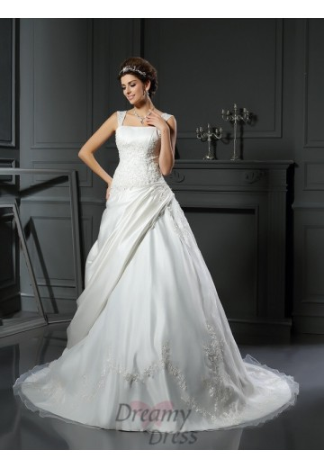 Ball Gown Satin Straps Chapel Train Wedding Dress