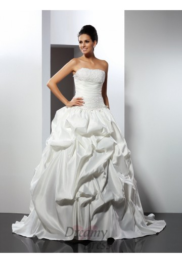 Ball Gown Strapless Cathedral Train Satin Wedding Dress