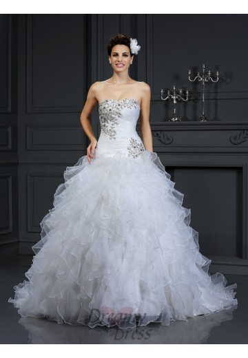 Ball Gown Strapless Chapel Train Organza Wedding Dress