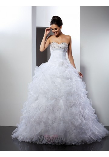 Ball Gown Sweetheart Cathedral Train Organza Wedding Dress