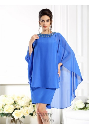Bateau 3/4 Sleeves Knee-Length Chiffon Mother of the Bride Dress