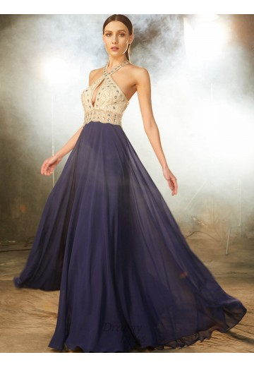 A-Line Straps Chiffon Floor-Length Dress with Beading