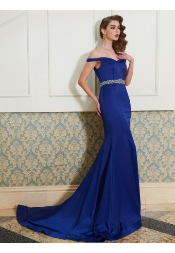 Mermaid Off-the-Shoulder Sweep/Brush Train Satin Dress with Crystal
