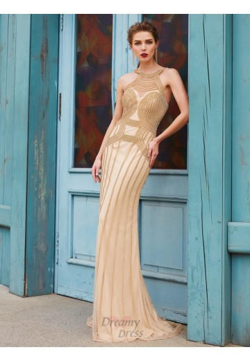Sheath High Neck Sweep/Brush Train Net Dress with Beading