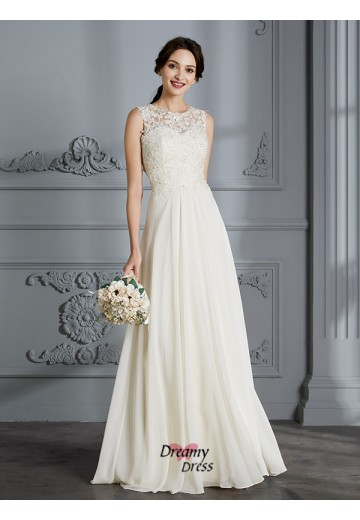 A-Line/Princess Scoop Chiffon Floor-Length Wedding Dress