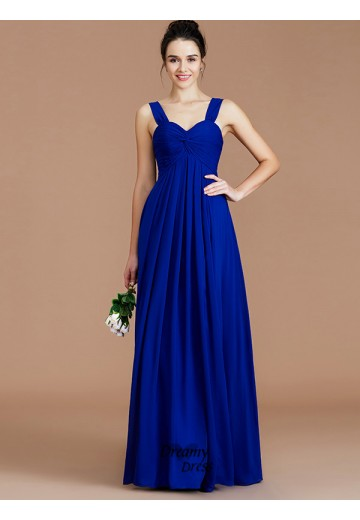 Empire Sweetheart Ruched Floor-Length Chiffon Bridesmaid Dress