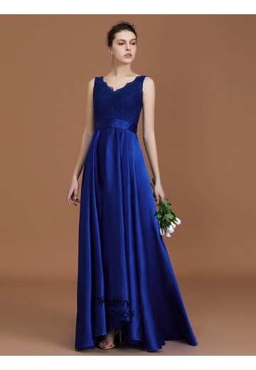 A-Line V-neck Satin Asymmetrical Bridesmaid Dress