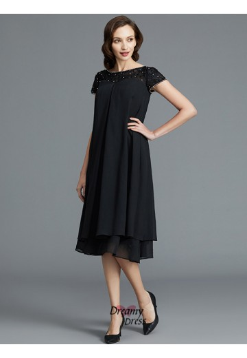 A-Line/Princess Scoop Knee-Length Chiffon Mother of the Bride Dress
