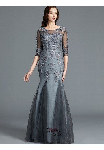 Sheath/Column Scoop Applique Tulle Floor-Length Mother of the Bride Dress