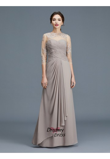 A-Line Sheer Neck Chiffon Floor-Length Mother of the Bride Dress