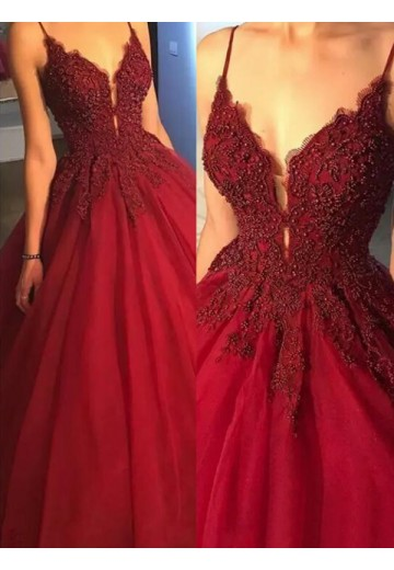 Ball Gown Spaghetti Straps Sweep/Brush Train Tulle Dress
