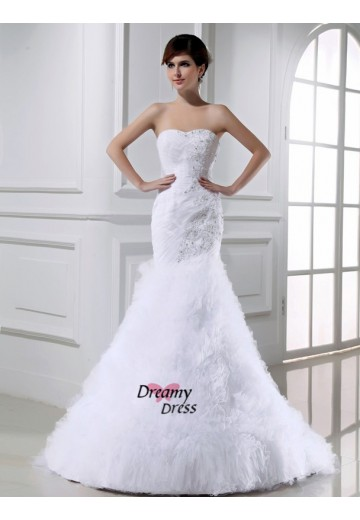 Mermaid Tulle Court Train Wedding Dress