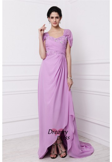 Sheath Square Embroidery Long Chiffon Mother of the Bride Dress