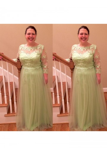 A-Line/Princess Sheer Neck Floor-Length Tulle Mother Of The Bride Dress