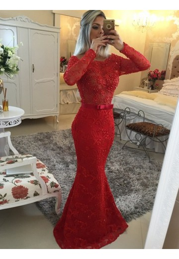 Mermaid Long Sleeves Scoop Long Dress
