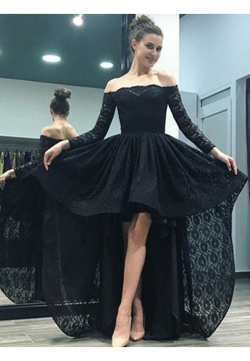 A-Line Off-the-Shoulder Sweep/Brush Train Asymmetrical Lace Dress