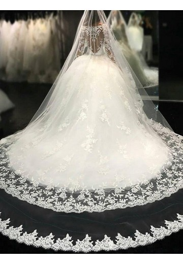 Ball Gown Scoop Lace Cathedral Train Tulle Wedding Dress
