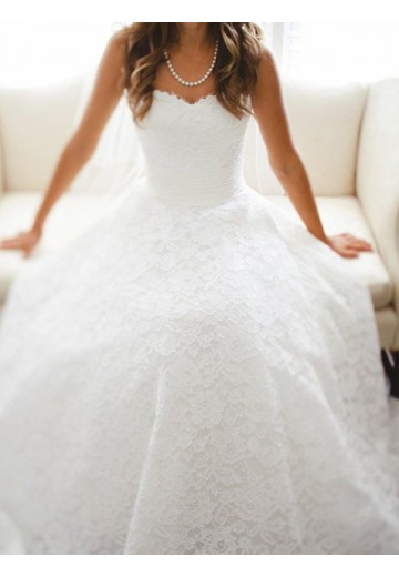 A-Line Sweetheart Cathedral Train Lace Wedding Dress